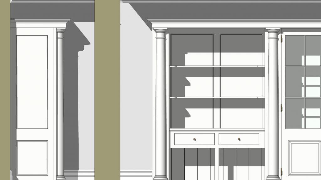 2D rendered dresser detail drawing