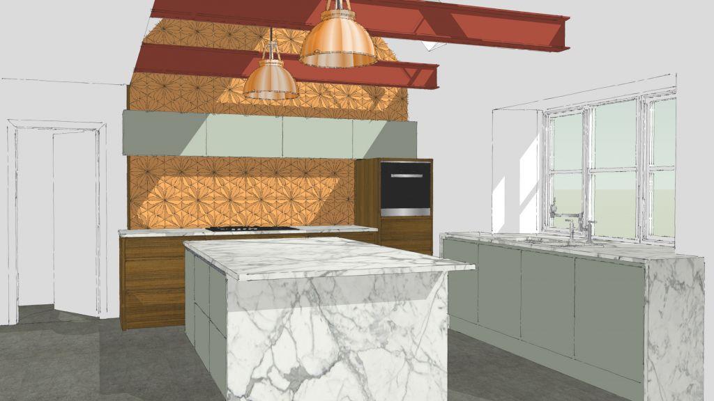 3d rendered kitchen design by Joel Bugg